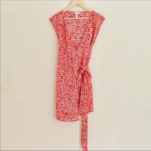Diane Von Furstenberg Orange Wraparound Dress M